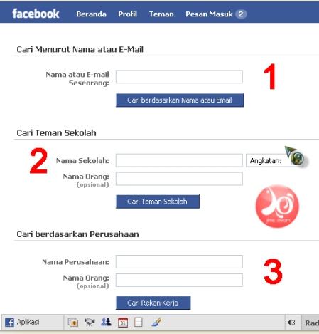 pencarian sesuai nama pada facebook