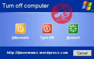 tampilan hibernate pada menu shutdown saat kita tekan shift